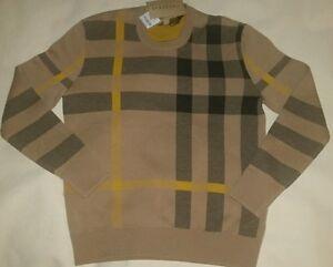 Burberry Brit Check Plaid Knit Cashmere Tan Soft Luxury Crewneck Sweater Camel