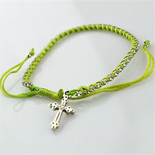 Lot of 3 pcs Religious Christian Lime Stain Rope Diamonte Bracelet With Cross