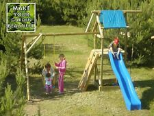 'ALEX' GARDEN WOODEN ACTIVITY PLAY CENTRE, SWING AND SLIDE, HIGH QUALITY WOOD