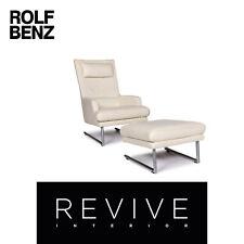 Rolf Benz Leder Sessel inkl. Hocker Creme #11111