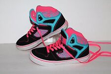 VANS Mid Casual Sneakers, #0T118YE, Black/Pink/Blue, Leather,  Youth 3Y