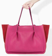 ZARA Woman BNWT Authentic Red Pink Strap Leather Shopper Tote Bag Large 8060/304