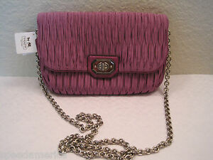 NWT Coach 48493 Madison Purple Gathered Pleated Satin Chain Clutch Bag $198