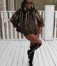 Unique designer Brown white skunk Fur Coat Jacket bolero stroller Xs-S 0-4