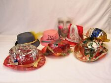 Mid Century Cellophane party Hats new year's with clear Halloween mask felt hats