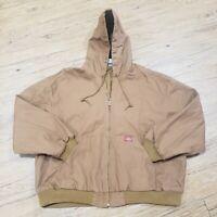 Dickies Hooded Canvas Rugged Duck Jacket Work Coat Brown Mens XXXL 3X Full Zip
