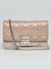 Christian Dior Beige Leather/Patent Leather Cannage Quilted Miss Dior Promenade