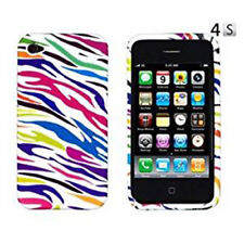 For Apple iPhone 4 4S Hard Protector Case Phone Cover Silver Rainbow Zebra