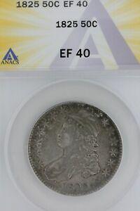 1825   50C XF 40   ANACS  --   Capped Bust Half Dollar, Miss Liberty