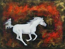 """Tableau original de Caillon 41x33cm """"DROIT DEVANT"""" poney cheval galop équitation"""
