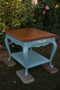 Vintage Drexel Accent Table, Blue, Chestnut Finish, French Touraine Collection