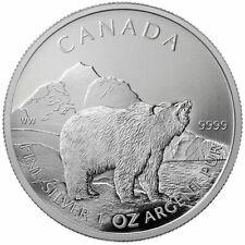 Canada 2011 Great Grizzly Bear Canadian Wildlife Series $5 1 Oz Pure Silver Bu