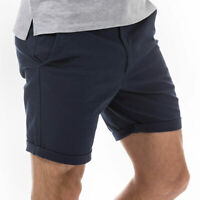 Mens Jack & Jones Bade Chino Shorts In Navy- Turned Up Cuffs- Zip Fly- Belt