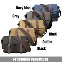 Vintage Canvas Leather Military Men's 14'' Laptop Messenger Shoulder Bag Satchel