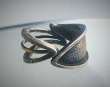 Mystery Designer Sterling Silver 18K Gold Textured Leaves Band Ring Sz 7 3/4