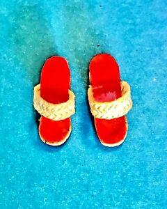 Vintage BARBIE ~ #967 PICNIC SET ~ WOVEN STRAP RED CORK SHOES ~ EXCELLENT