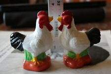 chicken salt and pepper shaker set hen rooster 1970s vintage