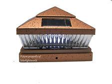 Copper 6X6 PVC Outdoor Garden Solar Post Deck Cap Square Fence Railing LED Light