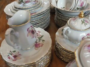 Rare Set of 94 pcs,  Bavaria Magnolia flower gold rim dinnerware made in Germany