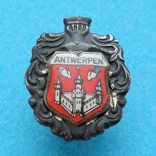 Belgium. Antwerpen, Anvers. Vintage Enamel Silver brooch, Medal. Souvenir Travel