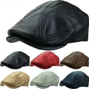 Leather Ascot Newsboy Ivy Hat USA MADE 100% Genuine Cap Cabby Driver Classic