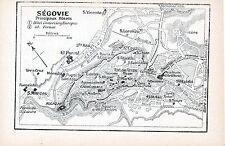 Segovia + La Granja 1915 peq. mapas ciudad orig + guía fr. (7 p.) Alcazar Moneda