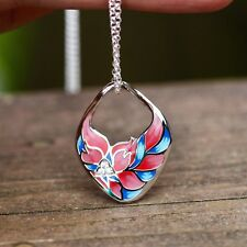 Leaves Flower Enameled Silver Pendant with Cubics , Cloisonné