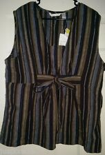 Sherry Taylor NWT Womens Brown Blue Striped Shirt Top Blouse Size 1X