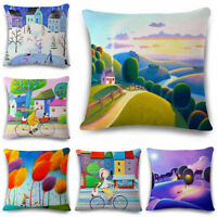 18inch Oil painting Cotton Linen Pillow Case Waist Cushion Cover Home Decor