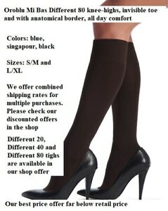 2 Pack Oroblu Mi Bas Different 80 knee-highs, invisible toe anatomical border