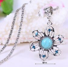 new Christmas!Tibet silver inlaid natural turquoise flowers necklace pendant