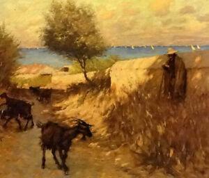 Dream-art oil painting thangue henry herbert the provencal lane martigues goats