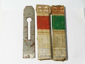"3 John Herring Sheffield Carpenter Plane Blades Original Packet 1+1/2"" CUT IRONS"