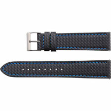18mm 20mm 22mm Sport Carbon Fiber Black/Blue Stitch Genuine Leather Watch Band