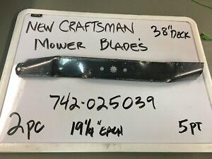 """NEW CRAFTSMAN 2 BLADE SET  #742025039   19 1/4"""" EACH- 38"""" DECK"""