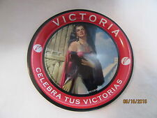 """VICTORIA BEER BEAUTIFUL LADY POSING W/GOLD NECKLACE 4-1/4"""" DIAM. TIP TRAY - NEW"""