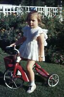 1944 Little Girl on Tricycle Summer Red Kodachrome Original 35mm Slide