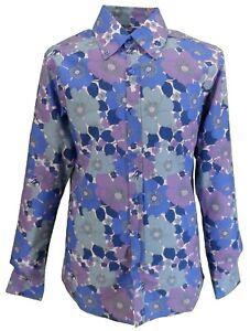 Mens 70s Mens Blue Psychedelic Floral Shirt