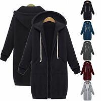 Women Zipper Hoodie Sweater Hooded Long Jacket Sweatshirt Coat Plus Winter S-5XL