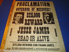 James Bothers,Jesse and Frank James repro   Western Reward Poster 23 x 28 inches