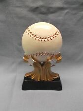 Baseball ball trophy resin black base gold stars R5H01
