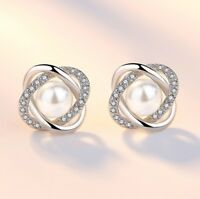 Crystal Pearl Swirl Stud Earrings 925 Sterling Silver Womens Girl Jewellery Gift