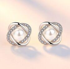 Crystal Pearl Twist Knot Stud Earrings 925 Sterling Silver Womens Girl Jewellery
