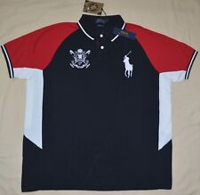 New Large L POLO RALPH LAUREN Men Black Watch Custom Fit Big pony red polo shirt