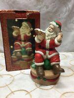 Vintage Porcelain Christmas Santa Music Box Holiday Collectible JINGLE BELLS