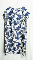 Kalinka Shift Dress Cap Sleeves White Blue Flower Print Size XXL Made In Russia