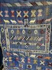 Vintage Traditional Hand Made Knot Native Wool Kilim Rug Blue Animals 92x146cm