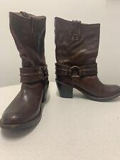 Frye Carmen Harness Short Womens 7 B Leather Western Boots Dark Brown - 77372