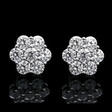 2CT Brilliant Created Diamond Cluster Earrings 14K White Gold Round Flower Stud