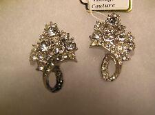 Vintage Silver Tone Rhinestone Clip-on Earrings, Signed Ledo